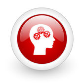 Head red circle glossy web icon on white background — Stockfoto