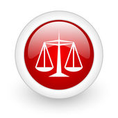 Justice red circle glossy web icon on white background — Stock Photo