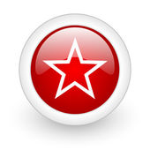 Star red circle glossy web icon on white background — Stok fotoğraf