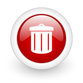 Recycle red circle glossy web icon on white background — Stock Photo
