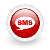 Sms red circle glossy web icon on white background — Stock Photo