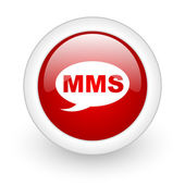 Mms red circle glossy web icon on white background — Foto Stock
