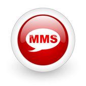 Mms rode cirkel glanzend web pictogram op witte achtergrond — Stockfoto
