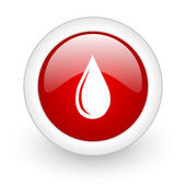 Water drop red circle glossy web icon on white background — Stock Photo