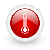 Thermometer red circle glossy web icon on white background — Stock Photo