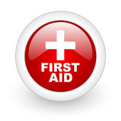First aid red circle glossy web icon on white background — Stock Photo