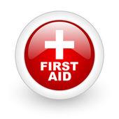Eerste hulp rode cirkel glanzend web pictogram op witte achtergrond — Stockfoto