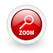 Zoom red circle glossy web icon on white background — Stock Photo