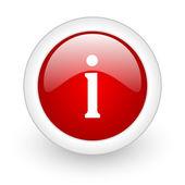 Icona informazioni web lucido di cerchio rosso su sfondo bianco — Foto Stock
