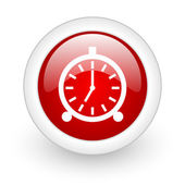 Alarm clock red circle glossy web icon on white background — Stock Photo