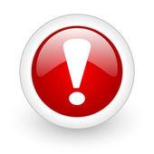 Uitroep teken rode cirkel glanzend web pictogram op witte achtergrond — Stockfoto