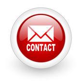 связаться с красным кружком икона глянцевый web на белом фоне — Стоковое фото