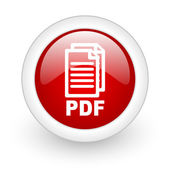 Pdf red circle glossy web icon on white background — Stock Photo