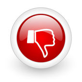 Thumb down red circle glossy web icon on white background — Stock Photo