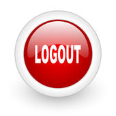 Logout red circle glossy web icon on white background — Stock Photo