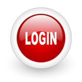 Login red circle glossy web icon on white background — Stok fotoğraf