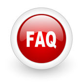 Faq red circle glossy web icon on white background — Stock Photo