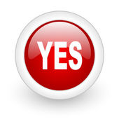 Yes red circle glossy web icon on white background — Stock Photo