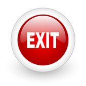 Exit red circle glossy web icon on white background — Stock Photo