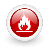 Flames red circle glossy web icon on white background — Foto Stock