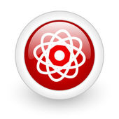 Atom red circle glossy web icon on white background — Stock Photo