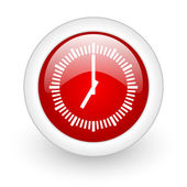 Ikona lesklý web hodin červený kruh na bílém pozadí — Stock fotografie