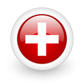 Emergency red circle glossy web icon on white background — Zdjęcie stockowe