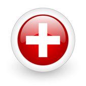 Awaryjnych czerwony okrąg www błyszczący ikona na białym tle — Zdjęcie stockowe