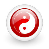 Ying yang red circle glossy web icon on white background — Stock Photo