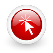 Click here red circle glossy web icon on white background — Stock Photo