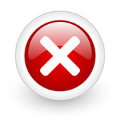 Cancel red circle glossy web icon on white background — Stock Photo