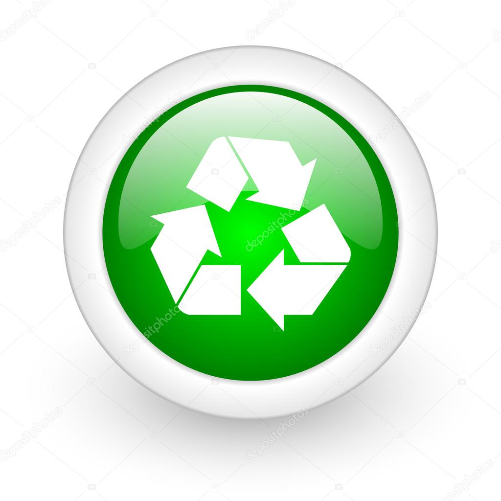 回收站在白色背景上的绿色圆圈光泽 web 图标