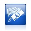 Money blue square glossy web icon on white background — Stock Photo