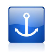 Anchor blue square glossy web icon on white background — Stock Photo