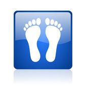 Footprint blue square glossy web icon on white background — Stock Photo