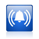 Alarm blue square glossy web icon on white background — Stock Photo