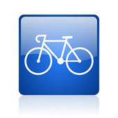 Bicycle blue square glossy web icon on white background — Stock Photo