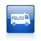 Police blue square glossy web icon on white background — Stock Photo