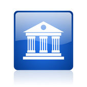 Museum blue square glossy web icon on white background — Stock Photo