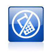 No phones blue square glossy web icon on white background — Stock Photo