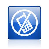 žádné telefony blue náměstí lesklý web ikony na bílém pozadí — Stock fotografie