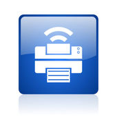 Print blue square glossy web icon on white background — Foto Stock