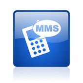 Mms azul ícone web brilhante quadrado sobre fundo branco — Foto Stock