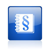 Law blue square glossy web icon on white background — Stock Photo