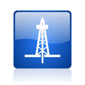 Drilling blue square glossy web icon on white background — Stock Photo