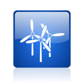 Windmill blue square glossy web icon on white background — Stock Photo