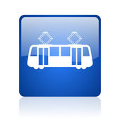 Tram blue square glossy web icon on white background — Stok fotoğraf