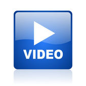 Video blue square glossy web icon on white background — Stock Photo