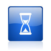 Time blue square glossy web icon on white background — Stock Photo
