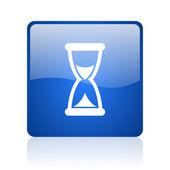Temps icône web carré brillant bleu sur fond blanc — Photo